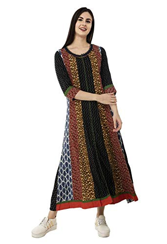 (SABHYATA Womens Kurta Indian Kurtis for Women Casual Tunic Kurti Tops Long Dress (Small, Black/Beige R Neck))