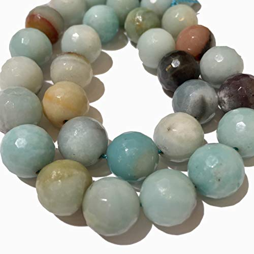 [ABCgems] 4 Strands Lot- Russian Amazonite (Beautiful Matrix) 12mm, 10mm, 8mm, 6mm Faceted Round Beads. Each Strand 8