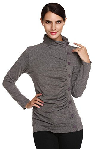 Meaneor Women's Long Sleeve Button Embellished Ruched Blouse Top Dark Gray (Silhouette Mini Button)