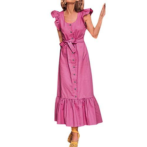 Sunhusing Women Solid Color Round Neck Ruffled Sleeveless Waist Belt with Button Decor Frilled Hem Long Dress Pink ()