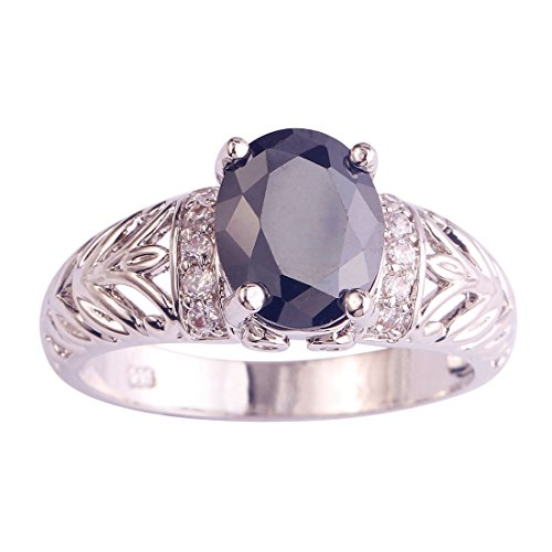 Veunora 8x10mm Oval Cut Black Spinel Ring for Women Size - Cut Gemstones Spinel