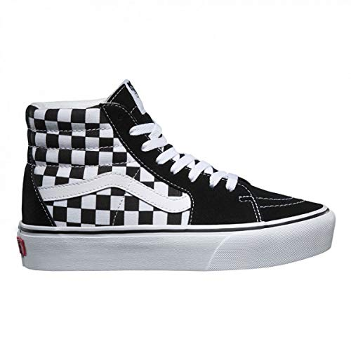 (Vans Unisex Sk8-Hi Platform 2 Suede Canvas Checkerboard True White Trainers 8.5 W / 7 M US)