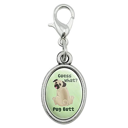 GRAPHICS & MORE Guess What? Pug Butt Antiqued Bracelet Pendant Zipper Pull Oval Charm with Lobster ()