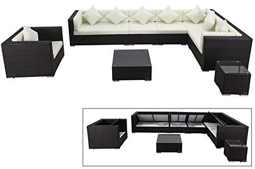 OUTFLEXX Lounge-Set aus hochwertigem Polyrattan in braun, 3-Sitzersofa, 2-Sitzer + 2 Mittelelemente, 1 Sessel + Beistelltisch + Kaffeetisch, inkl. Polster, für 8 Personen, Boxfunktion, wetterfest
