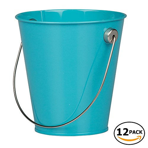 JAM Paper Colorful Metal Pails - Small - Bright Blue - 12 Party Favor Buckets/Pack -