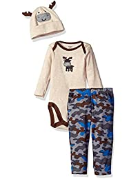Gerber Boys' 3 Piece Bodysuit, Cap, and Pant Set
