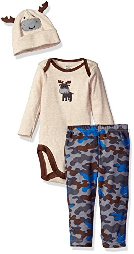 Cotton Three Piece Bodysuit (Gerber Boys' 3 Piece Bodysuit, Moose, 0-3 Months)