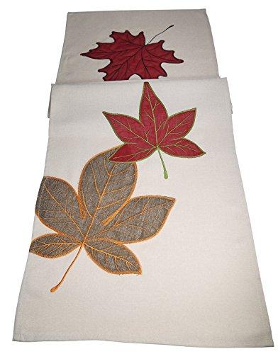 khevga Tischläufer Herbst Blätter Ahorn beige rot 40 x 140 cm