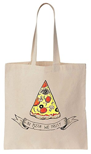 In Pizza We Trust Eye Design Sacchetto di cotone tela di canapa