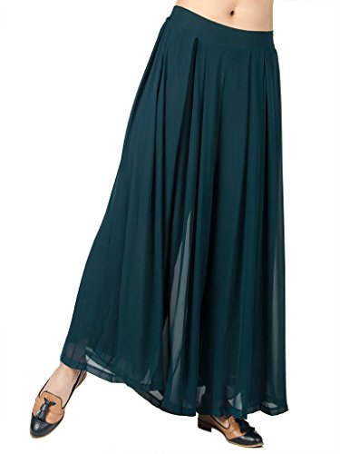 Pleated Womens Pant (PERSUN Women's Loose Pleated Chiffon Wide Leg Elastic Waist Palazzo Pants)