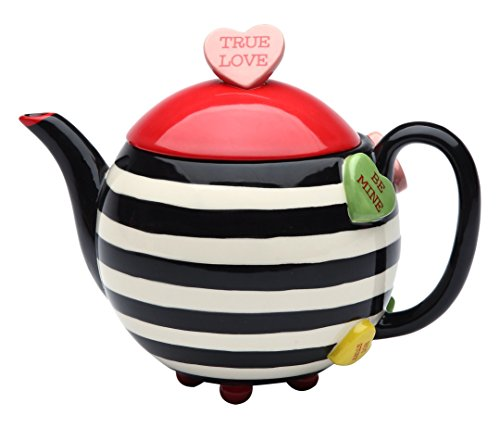 StealStreet SS-CG-62365, 7 Inch Porcelain Valentine Striped and Heart True Love Teapot Server