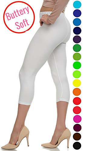 Lush Moda Extra Soft Leggings - Variety of Colors -Plus Size - White by LMB