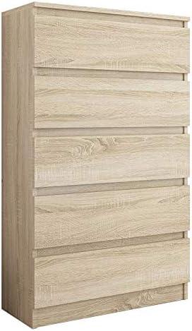 FRAMIRE R-5 Kommode in Sonoma Eiche, Kommode mit 5 Schubladen, Schrank für Schlafzimmer, Wohnzimmer, Bad, 120 x 70 x 40 cm