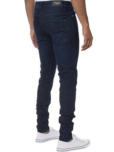 KRUZE Herren Designer Freizeit Markiert Jeans Dehnbar Super Enge Jeans Hose - Herren, Dunkel Steinwäsche, 40W x 30L