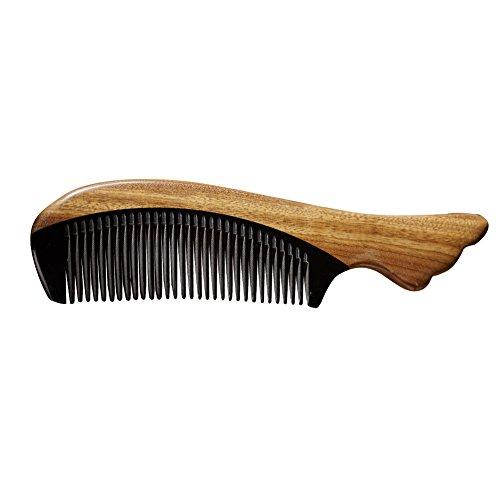 CHIMERA Narrow Tooth Hair Comb Natural Green Sandalwood Buffalo Horn Combs No Static Detangling Comb for Women and Men