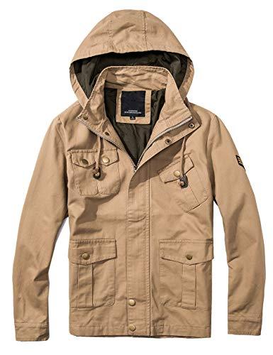 Men's Bomber Twill Utility Jacket Cozy 80s Windbreaker Military Jacket Coat Running Khaki -