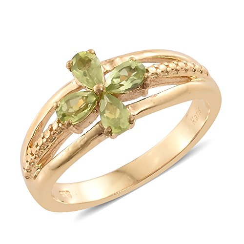 18k Peridot Ring (Peridot ION Plated 18K Yellow Gold Brass Ring 0.72 cttw. Size 10)