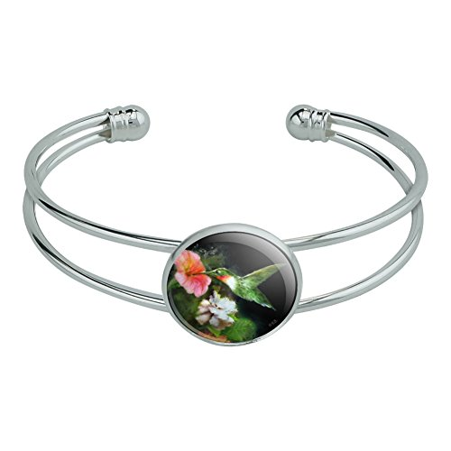 Graphics and More Ruby's Hummingbird Flower Garden Novelty Silver Plated Metal Cuff Bangle Bracelet