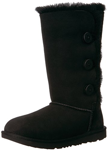 UGG Girls K Bailey Button Triplet II Pull-On Boot, Black, 4 M US Big Kid by UGG