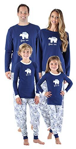 SleepytimePjs Family Matching Sleepwear Knit Blue Polar Bear Pajamas PJ Sets Infant (STM-3044-I-3135-3-6M)