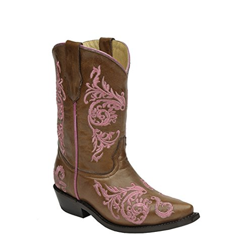 CORRAL Kids' Brown Pink Dahlia Embroidery Snip Toe Cowboy Boots G1242 (13 D(K) US) ()