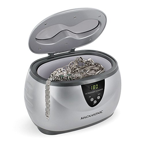 Magnasonic Professional Ultrasonic Jewelry Cleaner with Digital Timer for Eyeglasses, Rings, Coins - Platinum Jewel