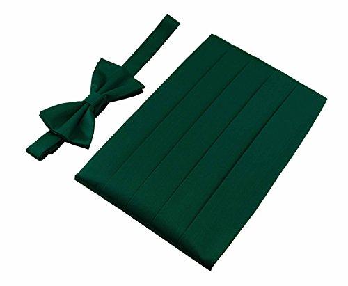 Lilac Cummerbund (Men's 100% Pure Silk Cummerbund & Bow Tie Set - Multi Colors (Hunter Green))