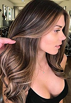 Sunny 20quot U Tip Hair Extensions Human HairNatural Black Fading to Dark Brown Highlight with Caramel Blonde Pre Bonded U Nail Tip Fusion Hair Extensions Human Hair 50G