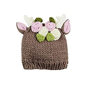 90c21e2ab6e Image Unavailable. Image not available for. Color  Hartley Deer Hand Knit  Hat with Flowers (Small 12-24 months ...