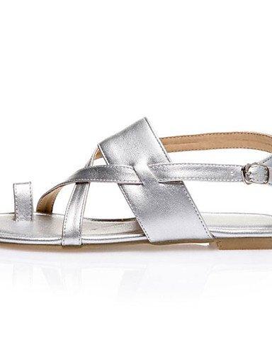 LFNLYX Zapatos de mujer-Tacón Plano-Chanclas-Mocasines-Casual-Sintético / Semicuero-Negro / Marrón / Plata Silver