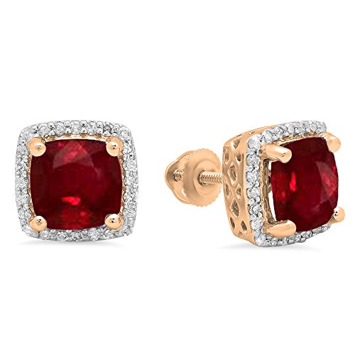 Dazzlingrock Collection 10K 7 MM Each Cushion Ruby & Round Diamond Ladies Square Frame Halo Stud Earrings, Rose Gold