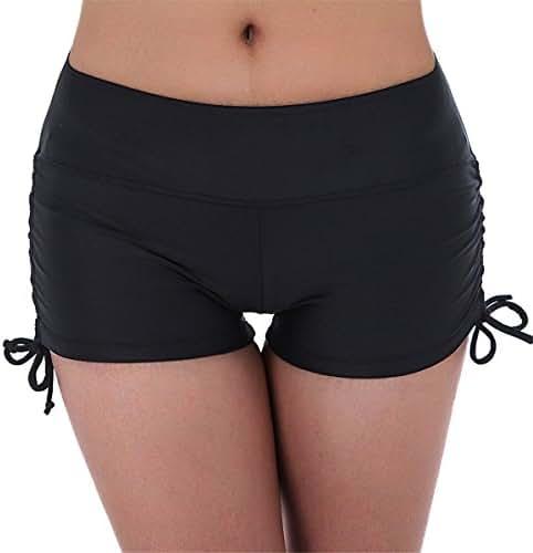 UNOW Women's Sporty Adjustable Boy Leg Wide Waistband Fully Lined Bikini Bottom Beach Briefs Tankinis Board Shorts