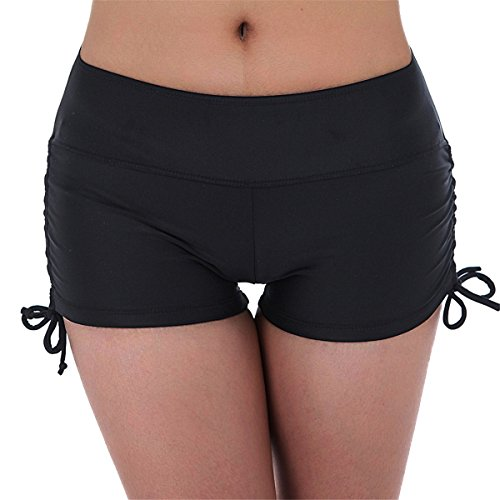 UNOW Women's Sporty Adjustable Boy Leg Wide Waistband Fully Lined Bikini Bottom Beach Briefs Tankinis Board Shorts(Black,XXL) Style Black Short
