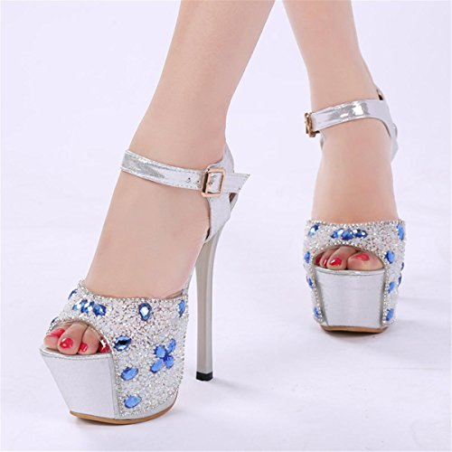 Chaussures NVXIE Diamant EUR35UK3 Peep Femmes Talon Super Fleur Spring Nouveau Nightclub Spring Chiffon Dames Satin Chaussures Party BLUE Plateforme Club Toe Stiletto 77wq8x0r