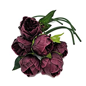 """Meide Group USA 14"""" Real Touch Latex Mini Peony Bunch Artificial Spring Flowers for Home Decor, Wedding Bouquets, and centerpieces (6 PCS) (Wine) 3"""