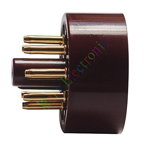 (Cayyi 4pc 8Pin Red Gold Bakelite Vacuum Tube sockets Saver Fr 6L6 EL34 KT88 audio amp)