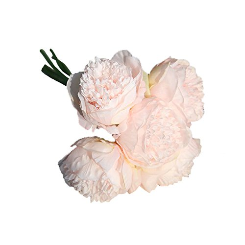 Mikilon 1Bouquet 5 Heads Artificial Peony Silk Flower Leaf Home Bridal Wedding Party Festival Bar Decor (Light Pink)