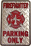 Firefighter Parking Only Embossed Metal Novelty Parking Sign SP80010 - 8