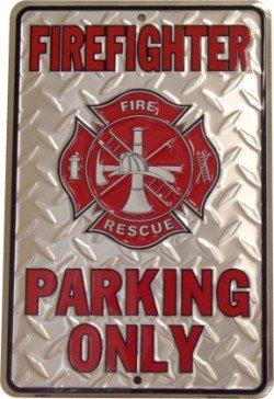 - Firefighter Parking Only Embossed Metal Novelty Parking Sign SP80010 - 8