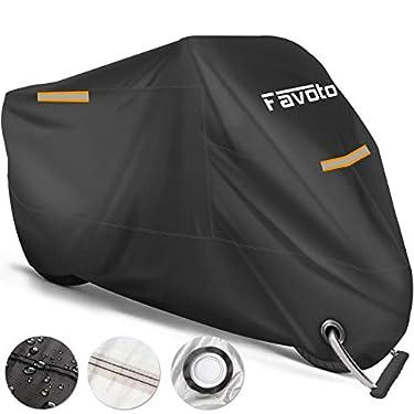 Favoto-Funda-para-Moto-Cubierta-de-la-Motocicleta-210T-Protectora-Poliester-con-Banda-Reflectante-a-Prueba-de-Sol-Agua-Lluvia-Polvo-Viento-Nieve-Excremento-de-Pajaro-al-Aire-Libre-XXL-245cm-Negro
