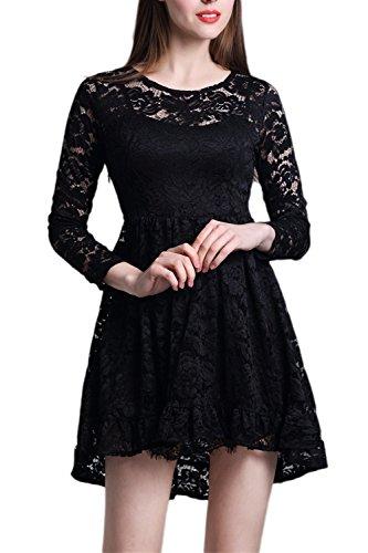 Vestido de fiesta de mujer Elegante de encaje manga larga oscilación Black