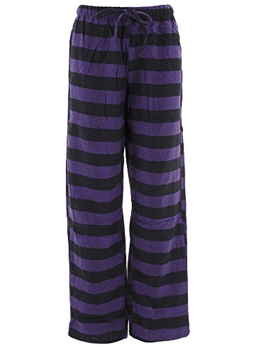 Flannel Striped Pajama Pants (Inteco Intimates Women's Purple Black Striped Flannel Pajama Pants 2X)
