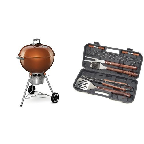 Weber 14402001 Original Kettle Premium Charcoal Grill, 22-Inch, Copper with Cuisinart Grilling Set by Weber