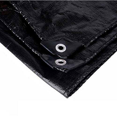 ZAQI Tarps Black Multi Purpose Thick Waterproof Poly Tarp Cover, Contractors, Campers, Painters, Farmers, Boats, Motorcycles, Hay Bales (Size : 3M×3M)