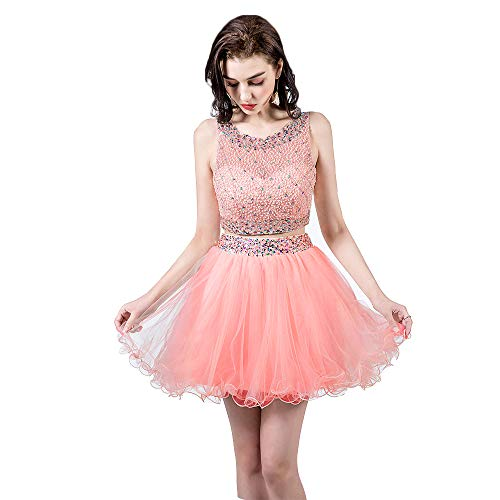 Short Gown Dress (TANGFUTI Two Piece Homecoming Dresses Short Beaded Tulle Formal Prom Gowns 010 Pink US4)