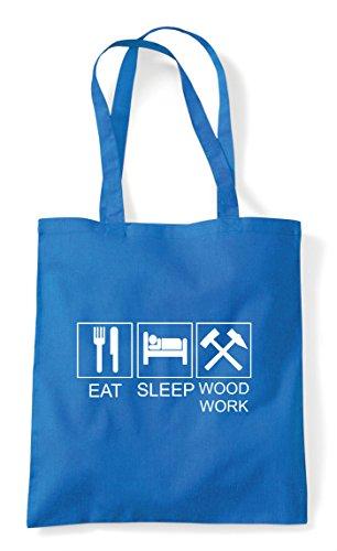 Eat Tote Sapphire Woodwork Shopper Funny Activity Bag Hobby Sleep Tiles SrzRwS