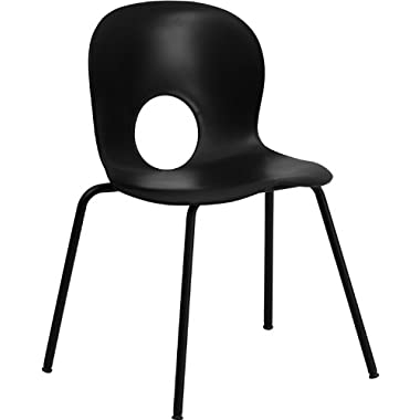 Flash Furniture RUT-NC258-BK-GG Hercules Series 400-Pound Designer Black Plastic Stack Chair with Black Powder Coated Frame