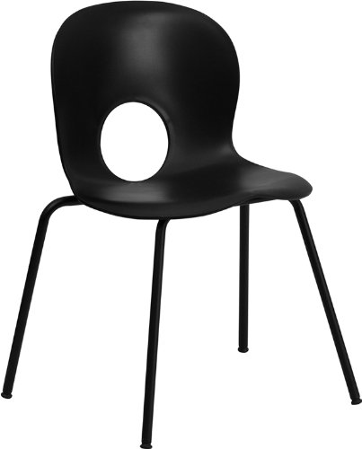 Flash Furniture HERCULES Series 770 lb. Capacity Designer Black Plastic Stack Chair with Black Frame by Flash Furniture