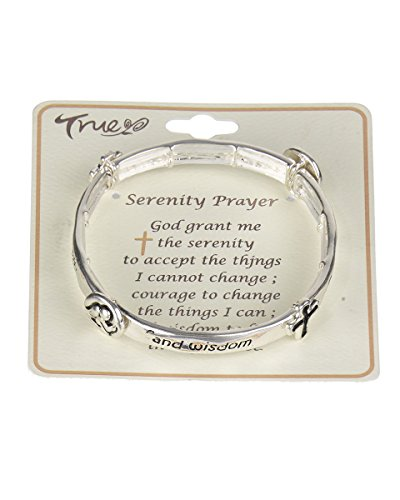 Jewelry Nexus Serenity Prayer Cross & Angel Charm Silver-tone Stretch Bracelet God Grant me
