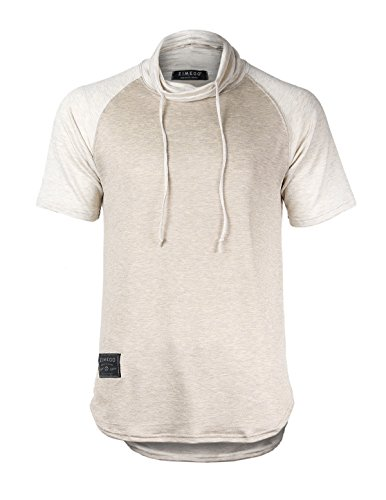 ZIMEGO Men's Hipster Hiphop Turtleneck Short Sleeve Raglan T-Shirt (Medium, ZGSS151 Brown (Short Sleeve T-shirt Turtleneck)